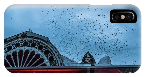 Starlings Over Aberystwyth Royal Pier IPhone Case