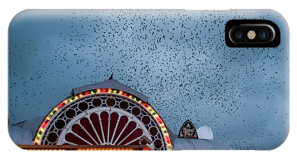 Starlings Over The Neon Lights Of Aberystwyth Pier IPhone Case