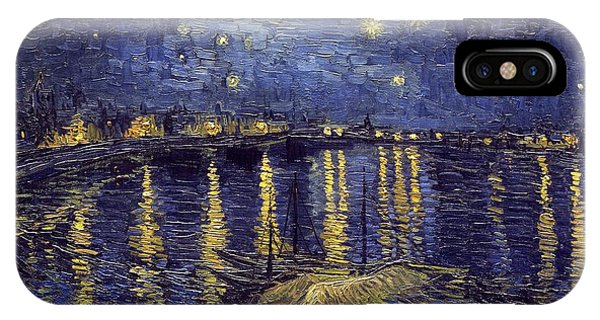 IPhone Case featuring the painting Starry Night Over The Rhone by Van Gogh