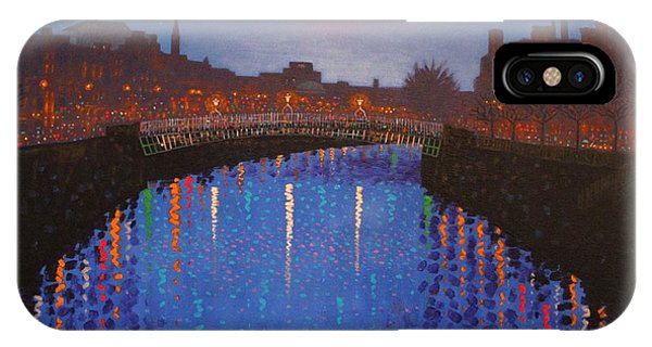 Cobalt Blue iPhone Case - Starry Nights In Dublin Ha' Penny Bridge by John  Nolan