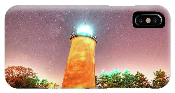 Starry Sky Over The Newburyport Harbor Light IPhone Case