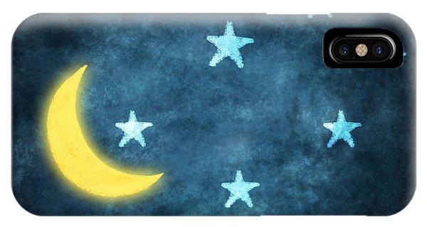 Moon iPhone Case - Stars And Moon Drawing With Chalk by Setsiri Silapasuwanchai