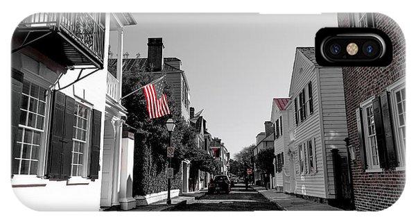 Stars And Stripes- Church St Charleston Sc IPhone Case