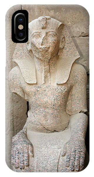 Statue From Pink Granite In Karnak Temple IPhone Case