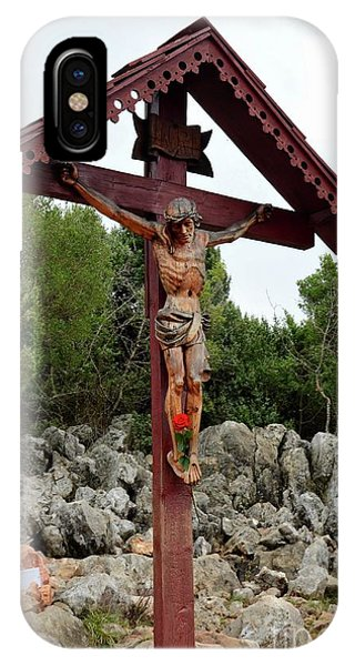 Mostar iPhone Case - Statue Of Christ On Cross At Medjugorje Pilgrim Site Bosnia Herzegovina by Imran Ahmed
