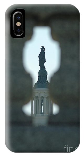 Statue Of Freedom Through Railing IPhone Case