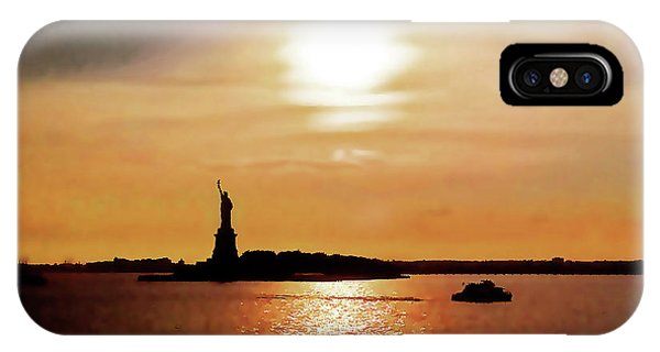 Statue Of Liberty At Sunset IPhone Case