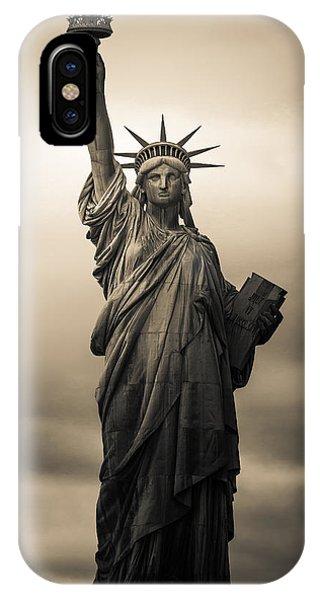 New York City iPhone Case - Statute Of Liberty by Tony Castillo