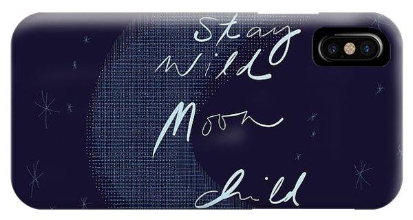 Half Moon iPhone Case - Stay Wild Moon Child by Marianna Mills