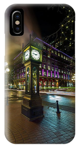 Steam Clock In Gastown Vancouver Bc At Night IPhone Case