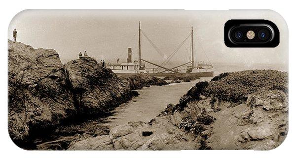 Steam Schooner S S J. B. Stetson, Ran Aground At Cypress Point, Sep. 1934 IPhone Case