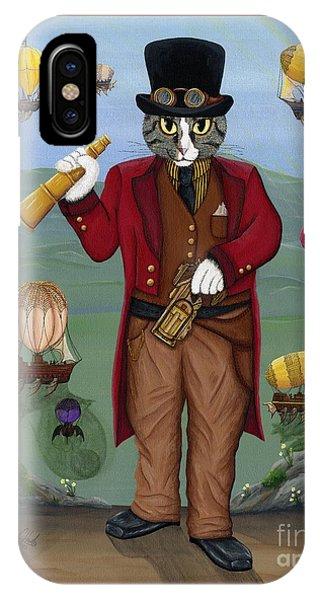 Steampunk Cat Guy - Victorian Cat IPhone Case