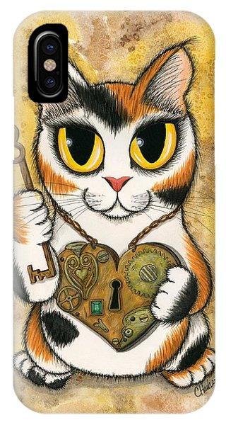 Steampunk Valentine Cat IPhone Case