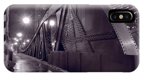 Chicago River iPhone Case - Steel Bridge Chicago Black And White by Steve Gadomski
