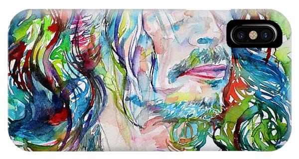 Steven Tyler iPhone Case - Steven Tyler - Watercolor Portrait by Fabrizio Cassetta