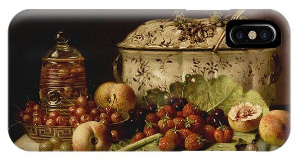 Still Life  Fruit And Dishes  Late 19th Century Oil On Panel Gottfried Schultz  German  1842  1919 IPhone Case