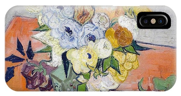 Damage iPhone Case - Still Life - Japanese Vase With Roses And Anemones, 1890 by Vincent Van Gogh