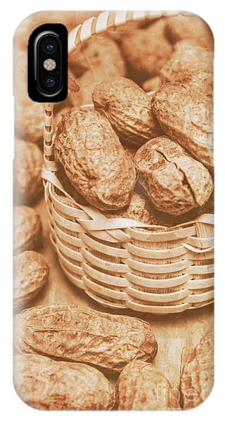 Container iPhone Case - Still Life Peanuts In Small Wicker Basket On Table by Jorgo Photography - Wall Art Gallery
