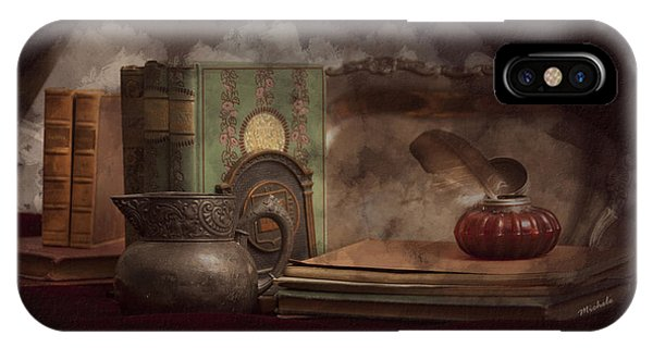 Still Life With Antique Books, Silver Pitcher And Inkwell IPhone Case