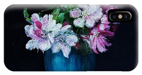 Still Life With Apple Tree Flowers In A Blue Vase IPhone Case