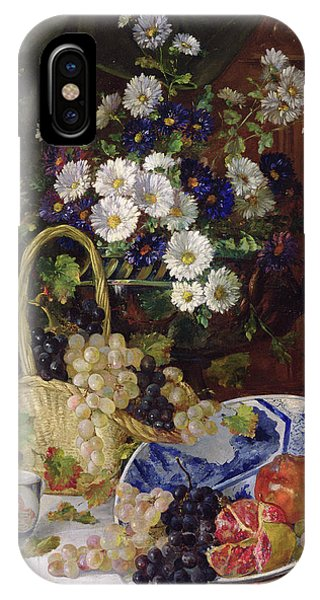 Lid iPhone Case - Still Life With Flowers And Fruit by Eugene Henri Cauchois