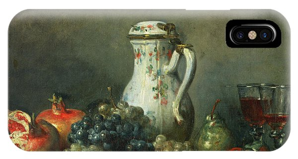 Pears iPhone Case - Still Life With Grapes And Pomegranates by Jean-Baptiste Simeon Chardin