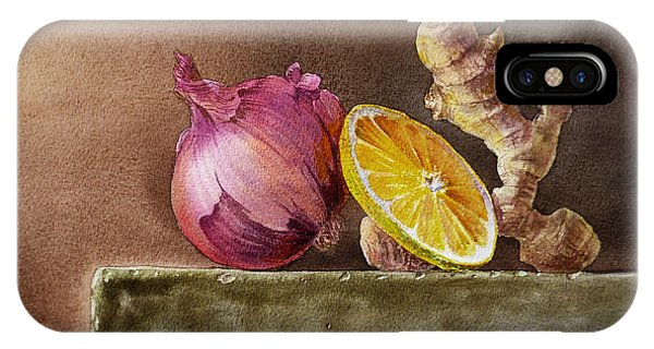 Vegetables iPhone Case - Still Life With Onion Lemon And Ginger by Irina Sztukowski