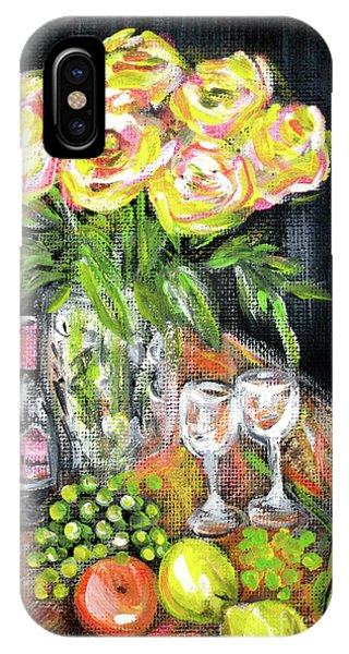 Still Life With Roses, Fruits, Wine. Painting IPhone Case