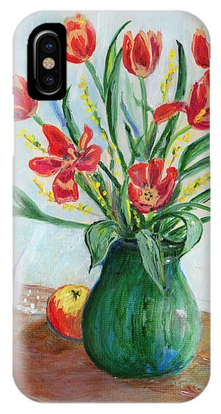 Still Life With Tulips And Apples - Painting IPhone Case