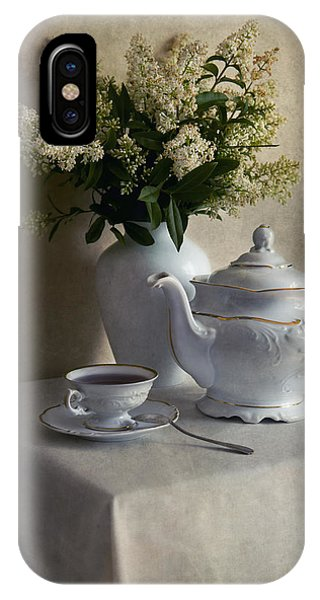 Still Life With White Tea Set And Bouquet Of White Flowers IPhone Case