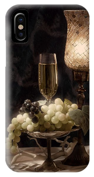 Vino iPhone Case - Still Life With Wine And Grapes by Tom Mc Nemar