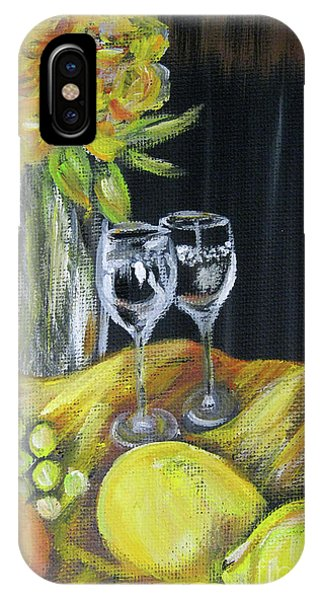 Still Life With Wine Glasses, Roses And Fruit. Painting IPhone Case
