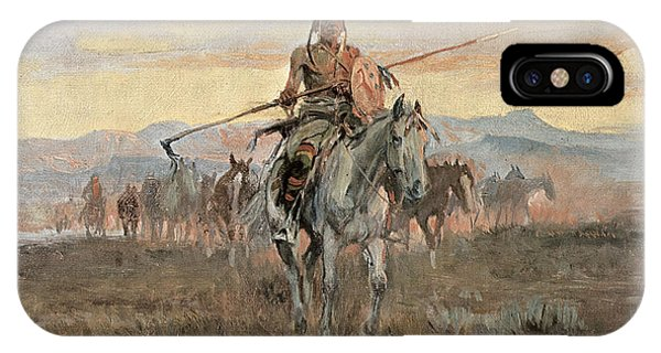 Staff iPhone Case - Stolen Horses by Charles Marion Russell