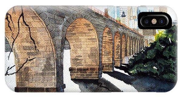 Bridge iPhone Case - Stone Arch Bridge Watercolor by Michele Angel