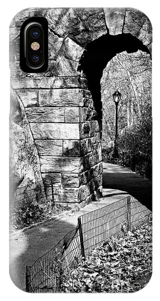 Stone Arch In The Ramble Of Central Park - Bw IPhone Case