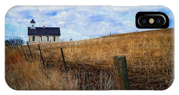 Stone Schoolhouse On The Kansas Prairie IPhone Case