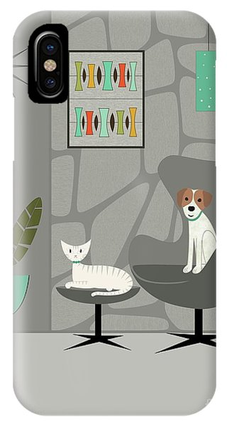 Stone Wall With Dog And Cat IPhone Case