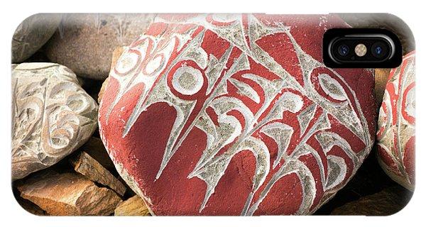 Kora iPhone Case - Stone With Tibetian Mantras Tibet Yantra.lv by Raimond Klavins