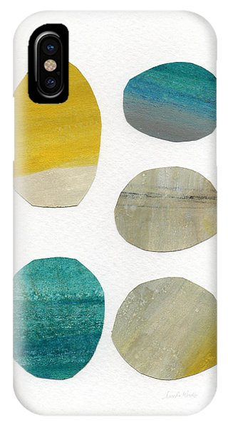 Mixed-media iPhone Case - Stones- Abstract Art by Linda Woods