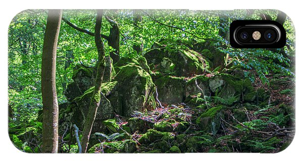 Stones In A Forest In Vogelsberg IPhone Case