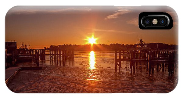IPhone Case featuring the photograph Stonington Harbor Sunset On Ice by Kirkodd Photography Of New England