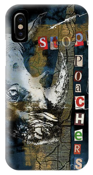 Stop Rhino Poachers Wildlife Conservation Art IPhone Case