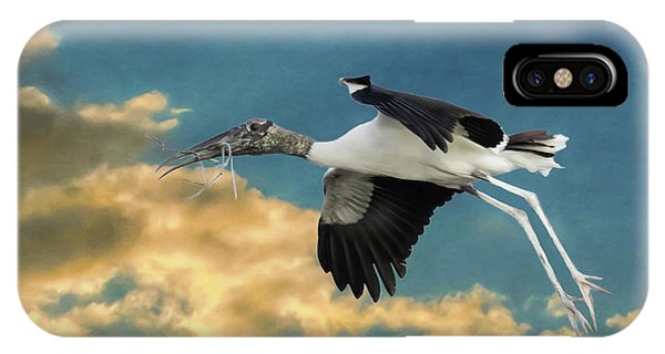 Stork Bringing Nesting Material IPhone Case