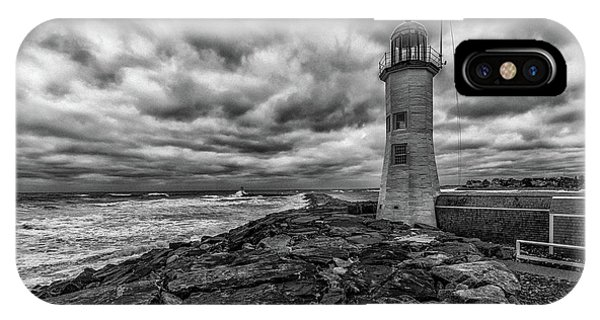 Storm Clouds Over Old Scituate Lighthouse In Black And White IPhone Case