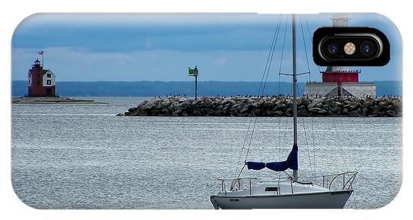 Great Lakes iPhone Case - Storm Over Mackinac by Pamela Baker
