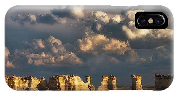 IPhone Case featuring the photograph Storm Over Monument Rocks by Darren White
