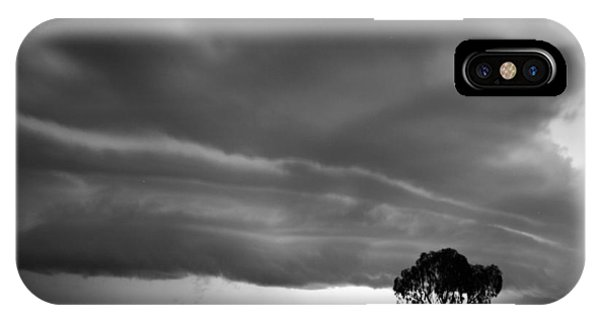 IPhone Case featuring the photograph Storm Passing Over Solitary Tree In The Desert by Keiran Lusk