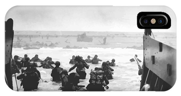 Patriots iPhone Case - Storming The Beach On D-day  by War Is Hell Store