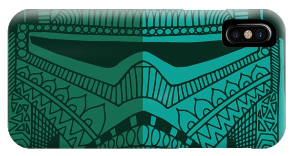 Stormtrooper Helmet - Star Wars Art - Blue Green IPhone Case