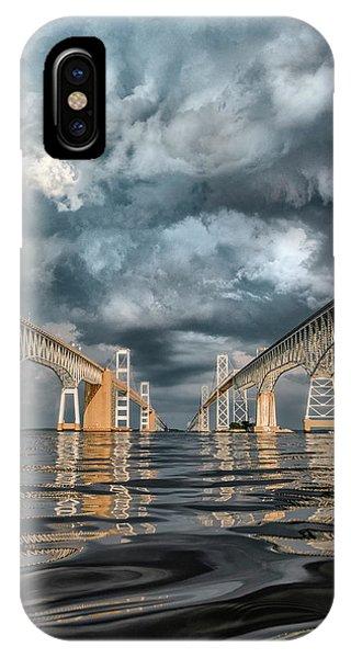 Chesapeake Bay iPhone X Case - Stormy Chesapeake Bay Bridge by Erika Fawcett